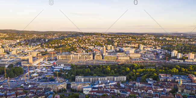 Germany- Baden-Wurttemberg- Stuttgart- Aerial panorama of Kernerviertel neighborhood at dusk