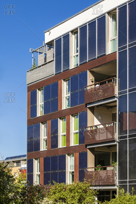 Germany- Baden-Wurttemberg- Tubingen- Modern energy efficient apartment building in Muhlenviertel suburb