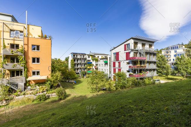 Germany- Baden-Wurttemberg- Tubingen- Modern apartment buildings in Franzosisches Viertelsuburb during spring