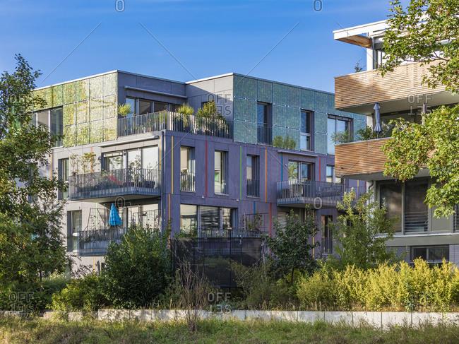 Germany- Baden-Wurttemberg- Tubingen- Modern energy efficient apartment buildings inLustnau quarter