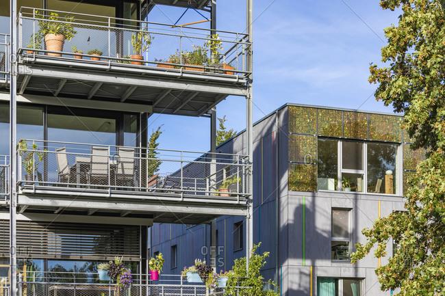Germany- Baden-Wurttemberg- Tubingen- Modern energy efficient apartment buildings in Lustnau quarter