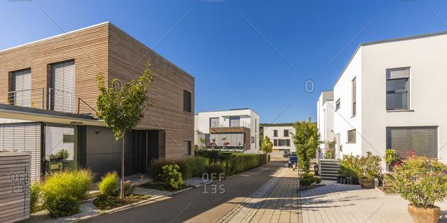 Germany- Baden-Wurttemberg- Esslingen- Energy efficient houses in modern suburb