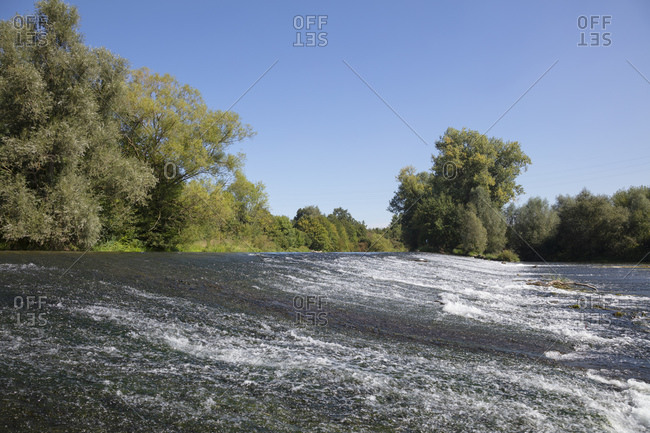 River flowing by trees at Lippeaue nature reserve against clear blue sky