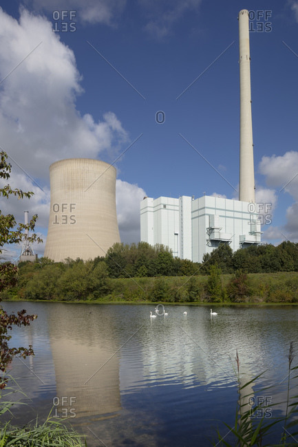 Swans swimming on Lippe River while coal-fired power station in background