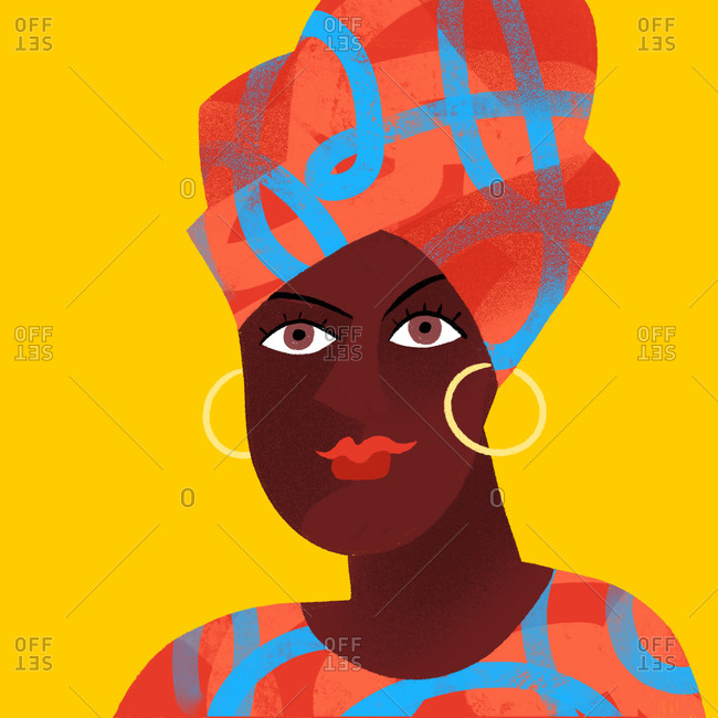 African woman wearing a  colorful turban and earrings