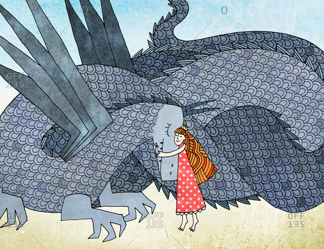 Princess in a red polka dot dress hugging a dragon