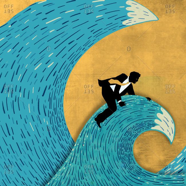 Businessman sitting on a second wave