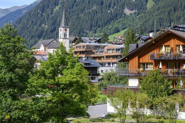Austria, montafon, gaschurn, town view.
