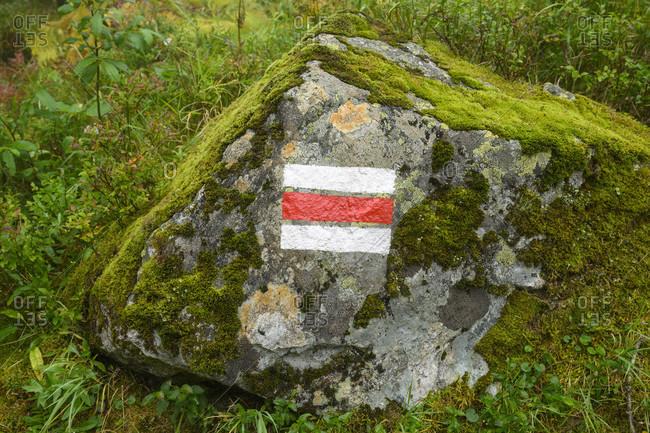 Austria, montafon, hiking trail marking.