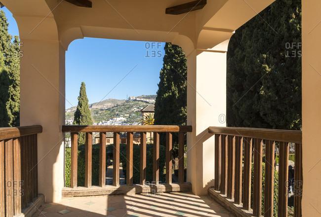 Spain, Granada, alhambra, partal, garden, viewpoint