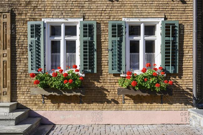 Austria, montafon, gaschurn facade with shingles.