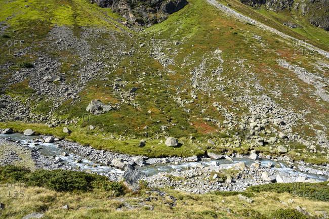 Austria, montafon, mountain stream to lake silvretta.