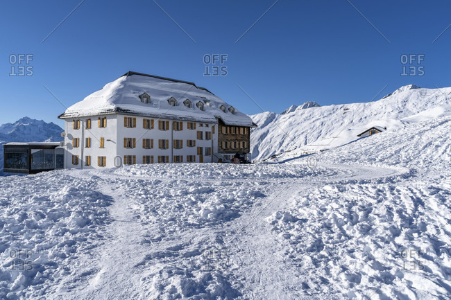 Europe, Switzerland, valais, belalp, hotel belalp in winter
