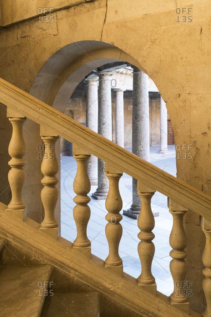 Granada (Spain), alhambra, palacio de carlos v., staircase