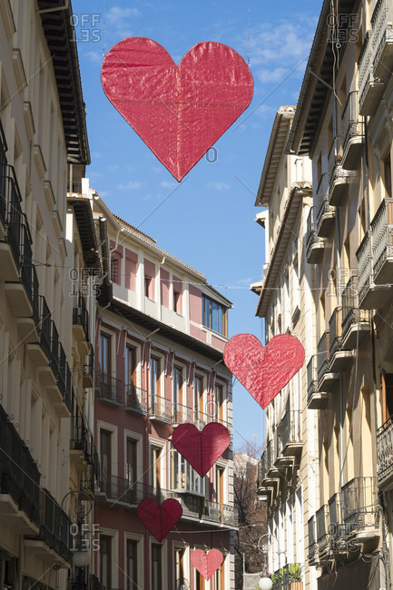 Granada (Spain), old town, street, hearts, valentine's day