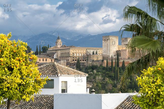 Spain, Granada, albaicin, historic district, alhambra view, sunny