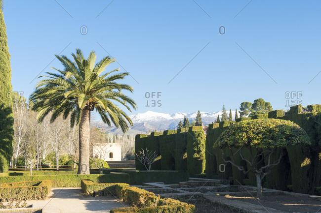 Spain, Granada, alhambra, jardines del secano, sierra Nevada