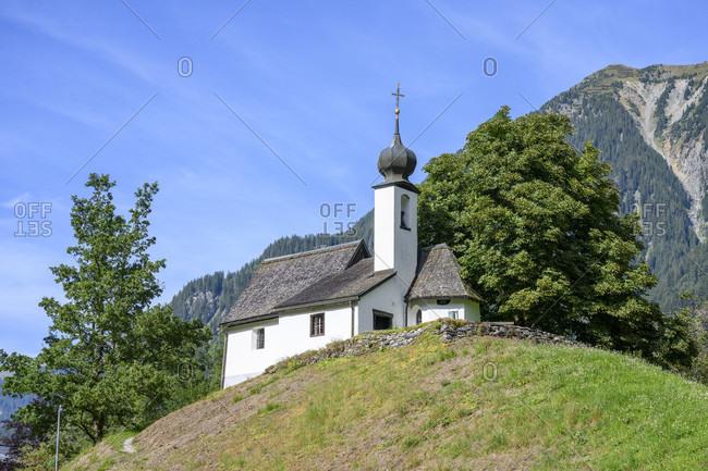 Austria, montafon, gaschurn, chapel maria in the snow.