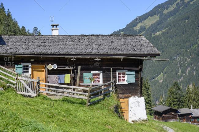Austria, montafon, rustic mountain hut near st. gallenkirch.