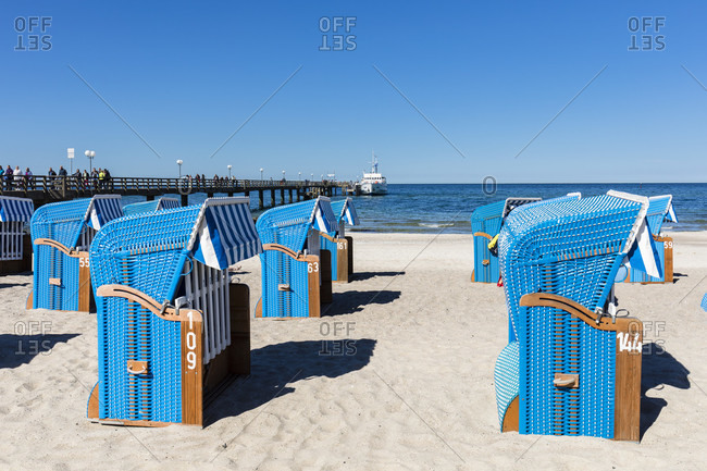 Beach chairs and pier from kuehlungsborn, mecklenburg-west pomerania, Germany