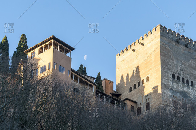 Granada (spain), view of the alhambra, moon, morning mood