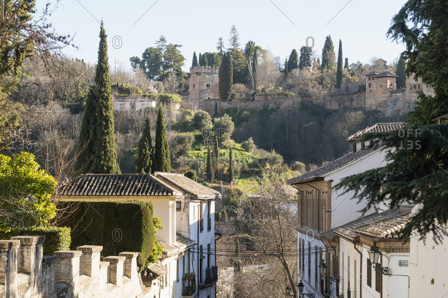 Granada (spain), albaicin, morning light, view of the alhambra