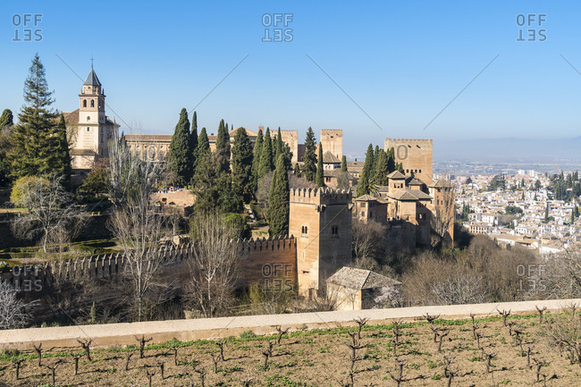 Spain, granada, alhambra, generalife, view of the nasrid palaces