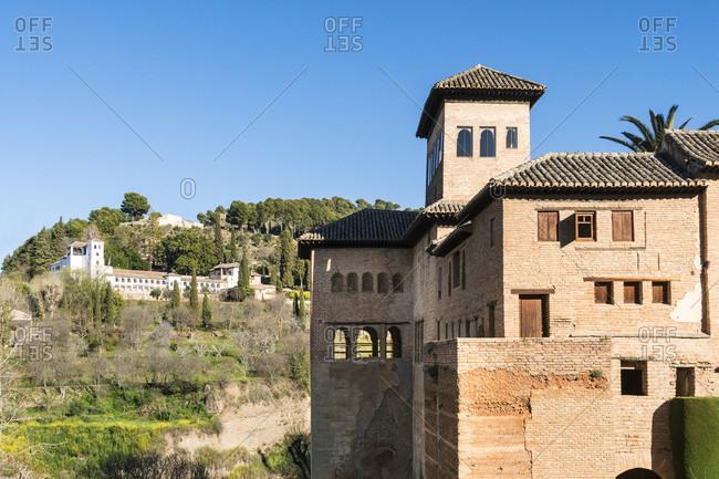 Spain, granada, alhambra, partal, torre de las damas, generalife