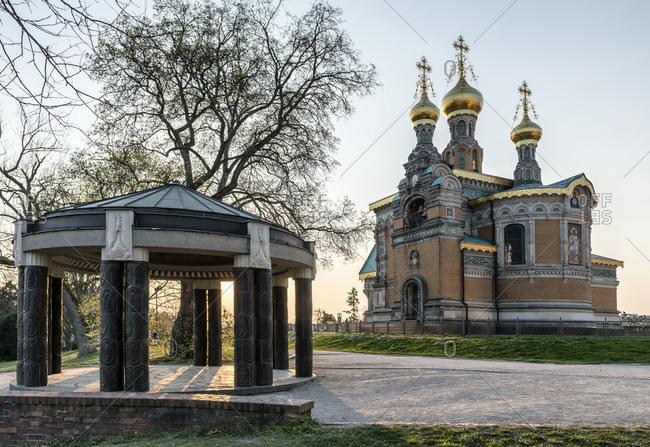 Germany, hesse, darmstadt, Russian orthodox chapel and pavilion on mathildenhohe,