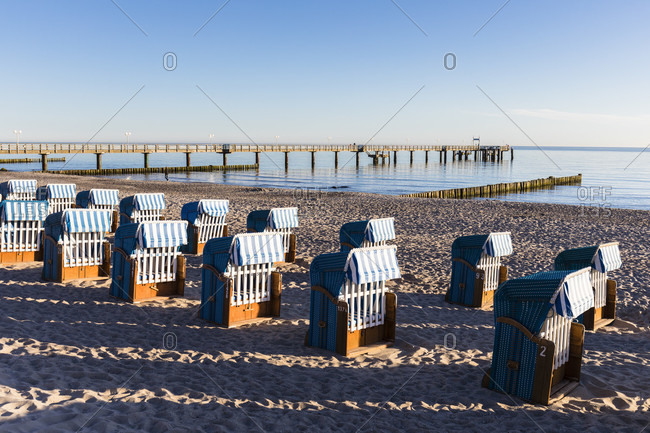 Beach chairs at the pier, ostseebad kuhlungsborn, mecklenburg-west pomerania, Germany