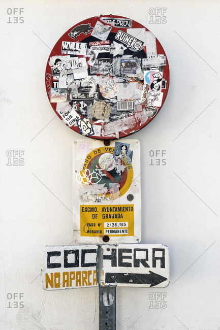 February 14, 2020: granada (spain), albaicin district, pasted traffic sign