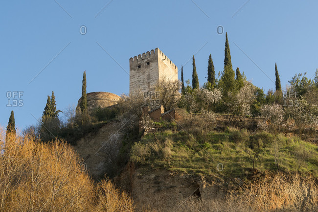 Granada (spain), view of the alhambra from the darro waterfront