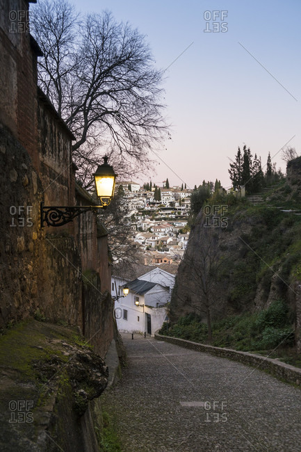Granada (spain), alhambra, cuesta del rey chico, ascent, morning mood