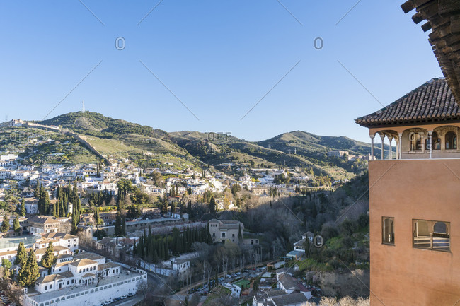 Granada (spain), alhambra, palacios nazaries, gallery, viewpoint, view towards albaicin