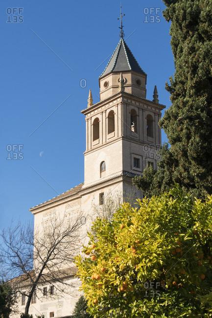 Spain, granada, alhambra, iglesia de Santa maria de alhambra, crescent