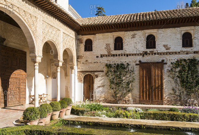 Spain, granada, generalife, patio de la acequia, water pool courtyard
