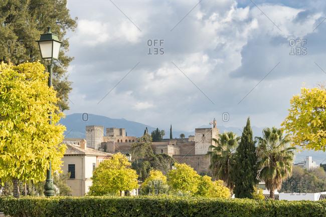 Spain, granada, albaicin, historic district, alhambra view, sunny, copy space