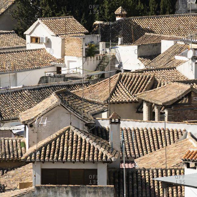 Spain, granada, albaicin district, tile roofs, typical of the district
