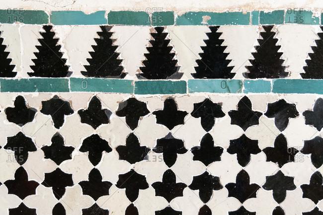 Spain, granada, alhambra, palacios nazaries, nasrid palaces, nasrid ceramics, frieze