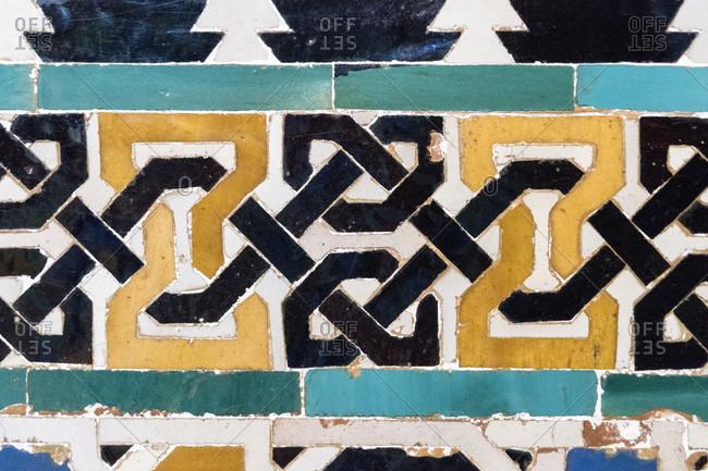 Spain, granada, alhambra, palacios nazaries, nasrid palaces, nasrid ceramics, bandwerk