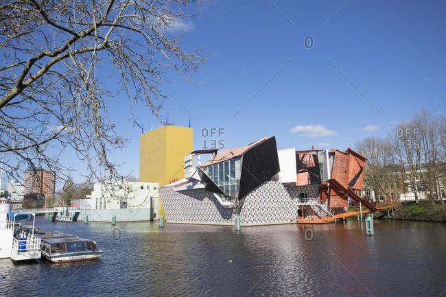 April 19, 2019: museum groningen opposite the train station, netherlands