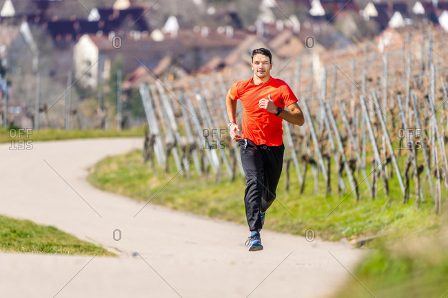 Man, 21 years old, jogging on kappelberg, remstal, Baden-Wurttemberg, Germany