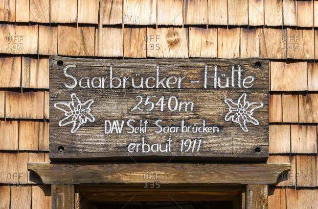 September 19, 2019: Austria, montafon, Saarbrucken hutte at 2540 m.