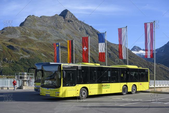 September 20, 2019: Austria, montafon, public bus on the biehler-hohe.