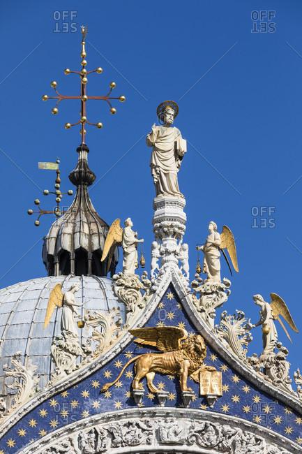 Towers of the facade of st. mark's basilica, venice, veneto, italy