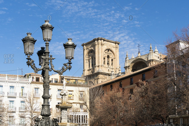 Granada (spain), old town, plaza bib rambla, view to the cathedral