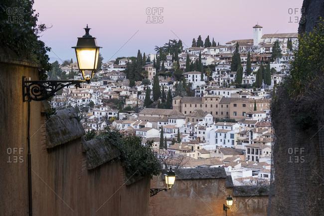 Granada (spain), cuesta del rey chico, ascent, morning mood, view albaicin