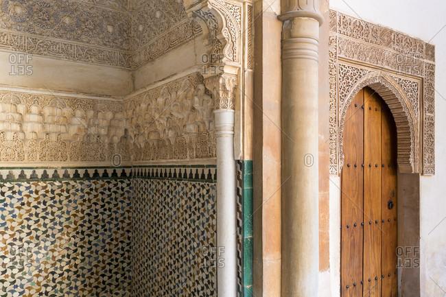 Granada (spain), alhambra, palacios nazaries, patio de arrayanes, myrtenhof, arabic epigraphy