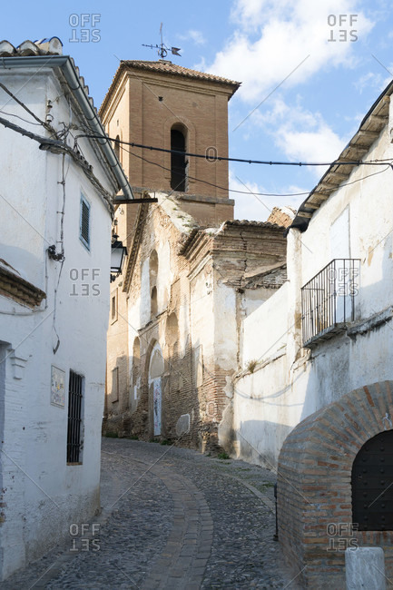 Spain, granada, albaicin, historic district, alley, iglesia de san luis, church
