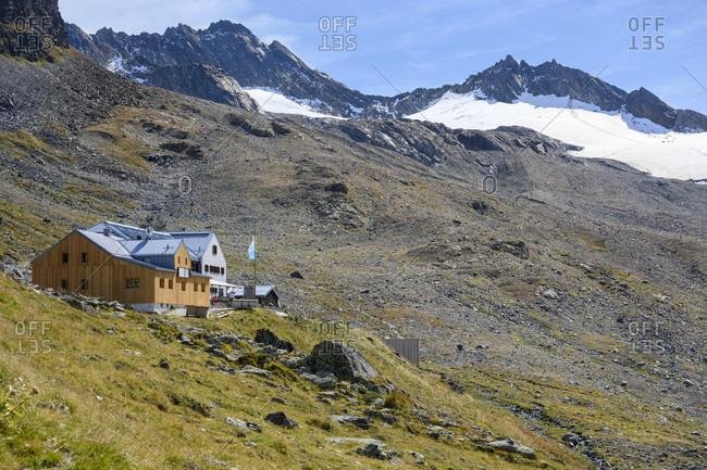 September 20, 2019: Austria, montafon, hiking trail to the wiesbadener hutte.
